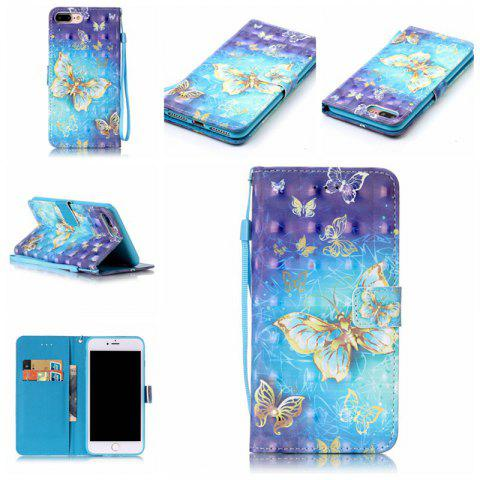 Store Golden Butterfly 3D Painted Pu Phone Case for Iphone 8 Plus / 7 Plus