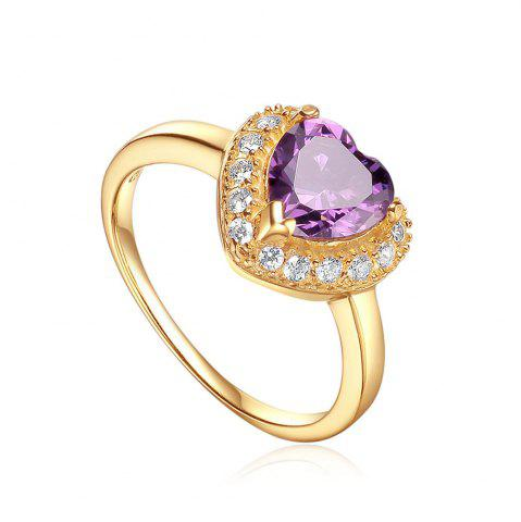 Affordable Sh Starharvest 925 Sterling Silver Ring with Aaa Cz Best Seller Purple Heart Gold Promise - 7 PURPLE Mobile