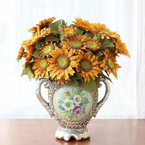 1 Bouquet 13 Heads Retro European Style Oil Painting Feel Sunflower Artificial Flowers 50CM -