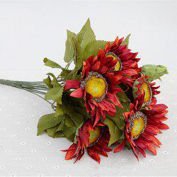 1 Bouquet 13 Heads Retro European Style Oil Painting Feel Red Sunflower Artificial Flowers 50CM -
