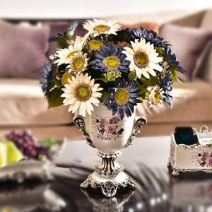 1 Bouquet 13 Heads Retro European Style Oil Painting Feel White Sunflower Artificial Flowers 50CM -