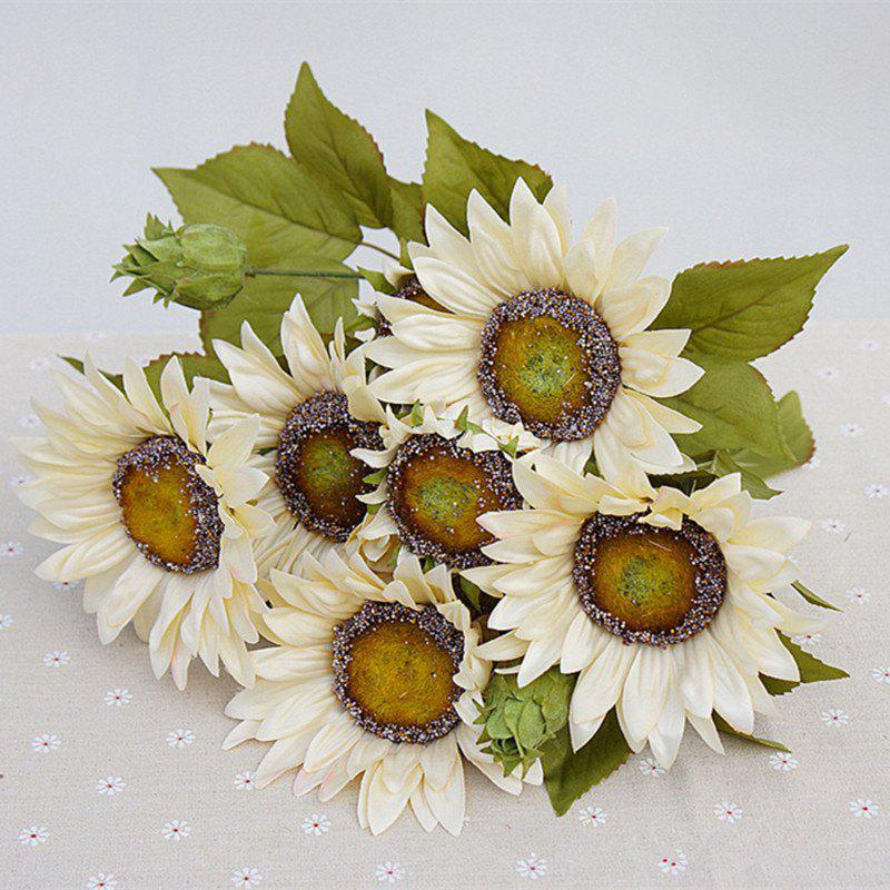 Shops 1 Bouquet 13 Heads Retro European Style Oil Painting Feel White Sunflower Artificial Flowers 50CM