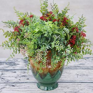 6 Branch Simulation Red Loose Fern Fruit Home Decoration Artificial Flower -