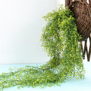110CM Artificial Plant Rattan Hanging Basket Flower Artificial Flower - YELLOW