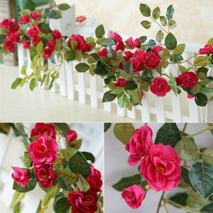 High Fidelity Rose Flower Rattan Home Decoration Artificial Flower 170CM -