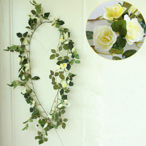 Chic High Fidelity Rose Flower Rattan Home Decoration Artificial Flower 170CM - LIGHT YELLOW  Mobile