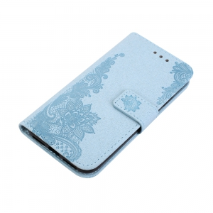 Wkae Phenix Flowers Embossing Pattern Faux Leather Horiontal Folio Stand Case avec Lanyard Card Slots pour iPhone X -