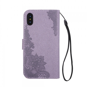 Wkae Phenix Flowers Embossing Pattern Faux Leather Horiontal Folio Stand Case with Lanyard Card Slots for iPhone X -