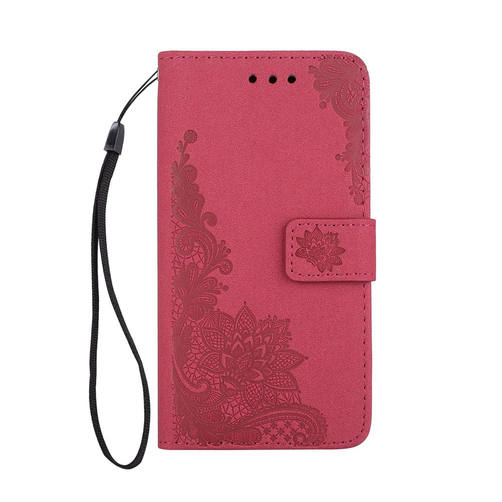 Latest Wkae Phenix Flowers Embossing Pattern Faux Leather Horiontal Folio Stand Case with Lanyard Card Slots for iPhone X