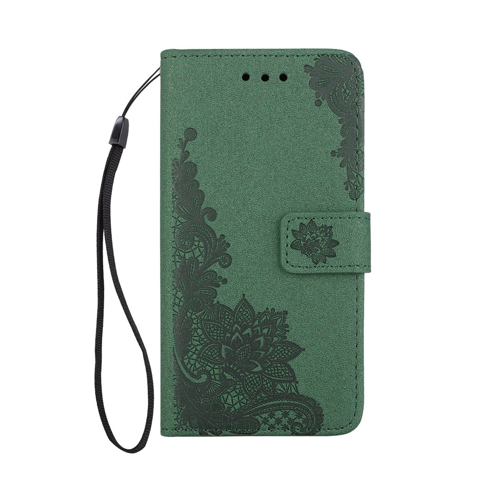Wkae Phenix Flowers Embossing Pattern Faux Leather Horiontal Folio Stand Case avec Lanyard Card Slots pour iPhone X