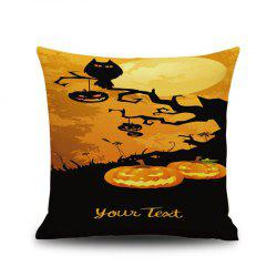 Halloween Pumpkin Tree 1 Carré Linen Décoratif Throw Pillow Case Coussin Cover - Multicolore