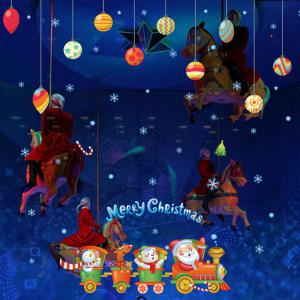 Creative Santa Claus Train Christmas Decoration Window Wall Stickers -