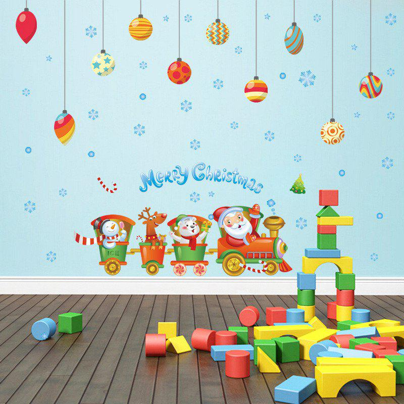 Creative Santa Claus Train Christmas Decoration Window Wall StickersHOME<br><br>Color: COLORFUL;