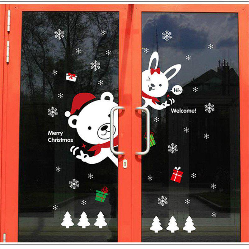 Creative Christmas Bear Rabbit Decoration Window Wall StickersHOME<br><br>Color: COLORFUL;