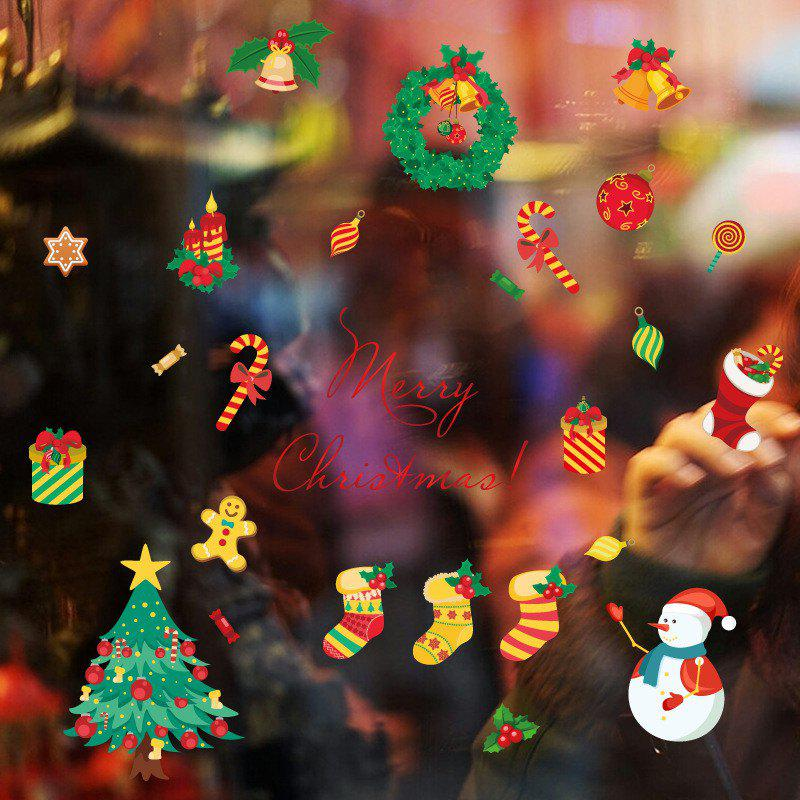 Christmas Tree Candy Snow Christmas Decoration Window Wall StickersHOME<br><br>Color: COLORFUL;