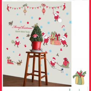 New Style Santa Claus Deer Christmas Decorative Window Wall Stickers - COLORFUL