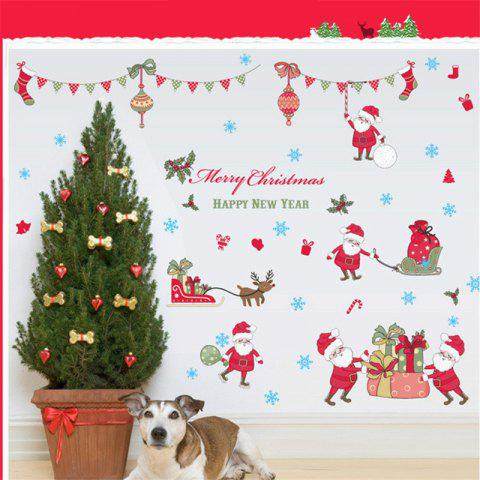 Trendy New Style Santa Claus Deer Christmas Decorative Window Wall Stickers COLORFUL