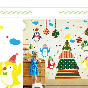 Creative Christmas Tree Penguin Cartoon Decoration Window Wall Stickers - COLORFUL