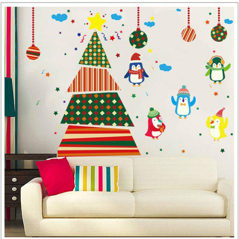 Hot Creative Christmas Tree Penguin Cartoon Decoration Window Wall Stickers COLORFUL
