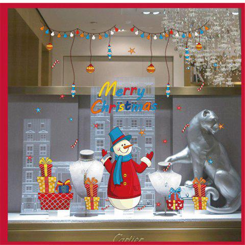 Affordable New Style Santa Claus Christmas Decorations Windows Wall Stickers - COLORFUL  Mobile