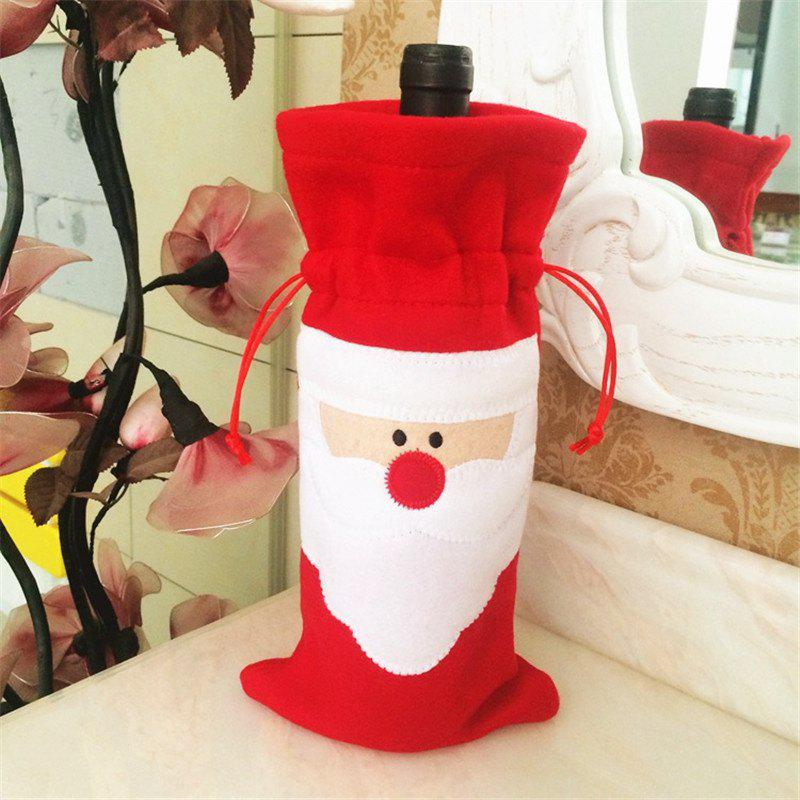 Creative Santa Claus Red Wine Bottle Bag Christmas DecorationHOME<br><br>Color: RED; Material: Lint; Usage: Christmas,Party;