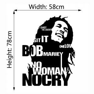 Bob Marley Wall Sticker No Woman No Cry Reggae Jamaica Home Decor -