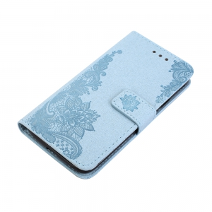 Wkae Phenix Flowers Embossing Pattern Faux Leather Horiontal Folio Stand Case with Lanyard Card Slots for Samsung Galaxy J3 2017 European Edition -