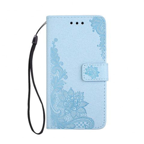 Trendy Wkae Phenix Flowers Embossing Pattern Faux Leather Horiontal Folio Stand Case with Lanyard Card Slots for Samsung Galaxy J3 2017 European Edition