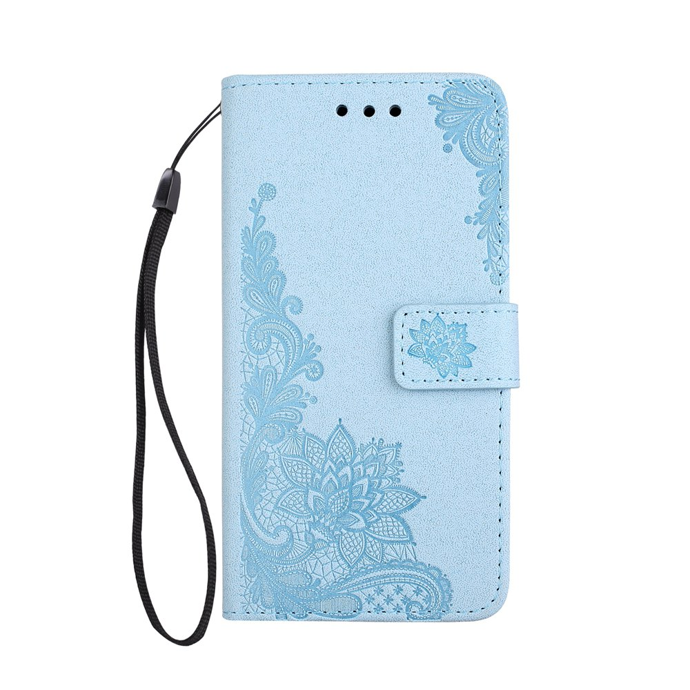 Best Wkae Phenix Flowers Embossing Pattern Faux Leather Horizontal Folio Stand Case with Lanyard Card Slots for Samsung Galaxy S8