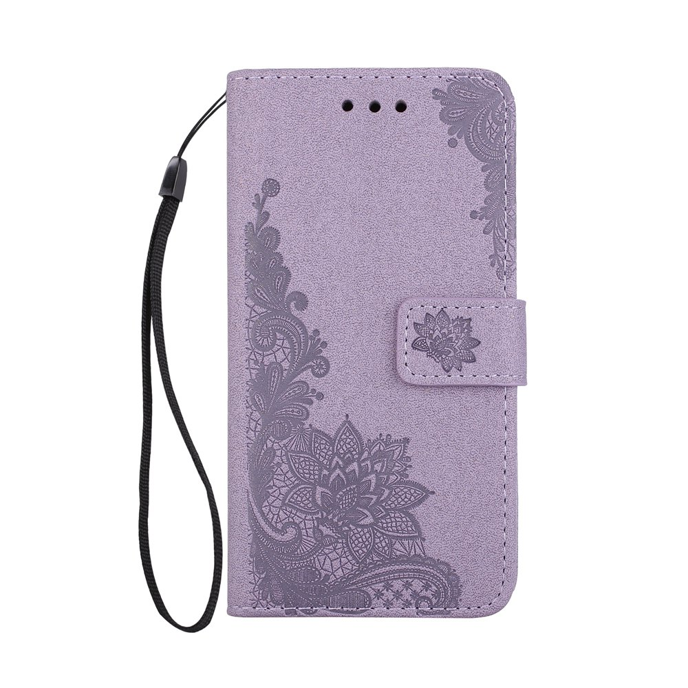 Latest Wkae Phenix Flowers Embossing Pattern Faux Leather Horizontal Folio Stand Case with Lanyard Card Slots for Samsung Galaxy S8