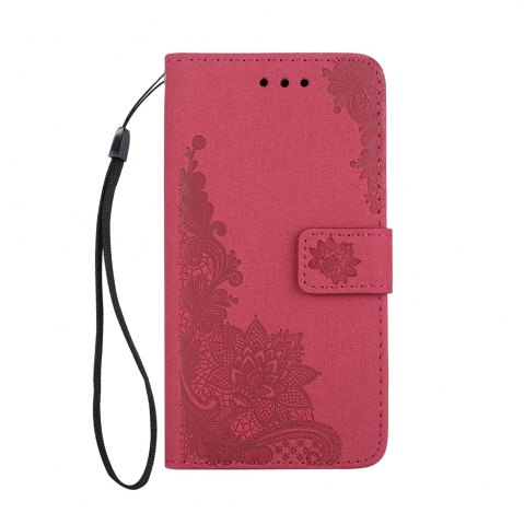 Unique Wkae Phenix Flowers Embossing Pattern Faux Leather Horizontal Folio Stand Case with Lanyard Card Slots for Samsung Galaxy S8 Plus