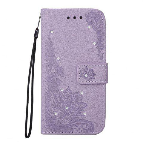 Unique Wkae Embossed Phenix Flower Bling Shining Resin Rhinestone Pattern PU Leather Wallet Case with Lanyard Card Slots for Huawei P8 Lite 2017