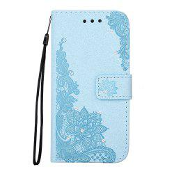 Wkae Embossed Phenix Flower Bling Shining Resin Rhinestone Pattern PU Leather Wallet Case with Lanyard Card Slots for Huawei P8 Lite 2017 -