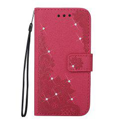 Wkae Embossed Phenix Flower Bling Shining Resin Rhinestone Pattern PU Leather Wallet Case with Lanyard Card Slots for Samsung Galaxy A3 2017 -
