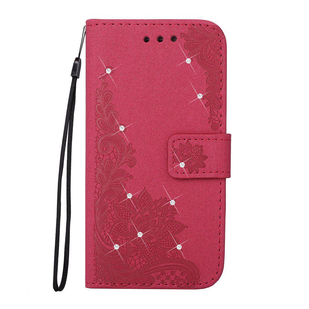 Discount Wkae Embossed Phenix Flower Bling Shining Resin Rhinestone Pattern PU Leather Wallet Case with Lanyard Card Slots for Samsung Galaxy A3 2017