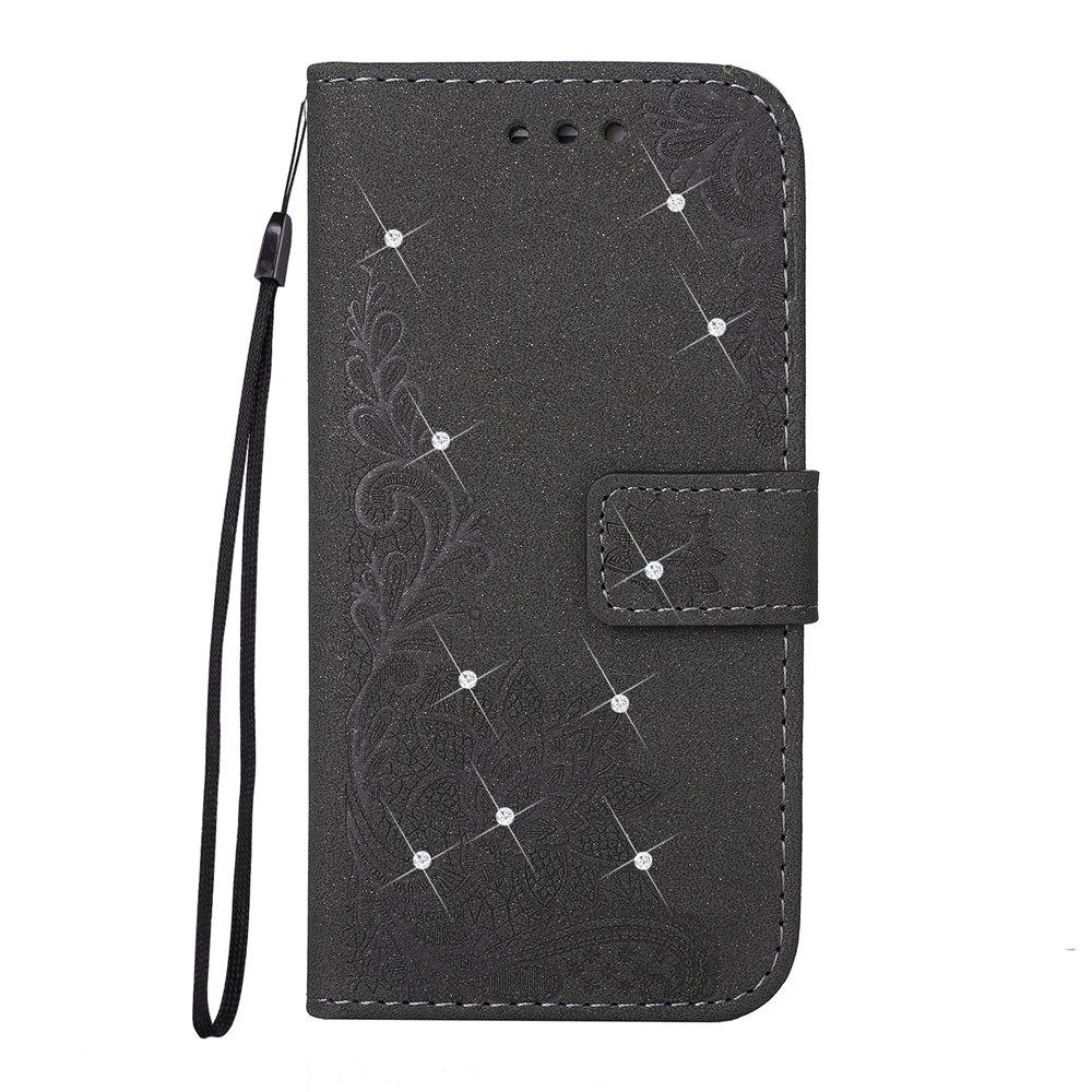 New Wkae Embossed Phenix Flower Bling Shining Resin Rhinestone Pattern PU Leather Wallet Case with Lanyard Card Slots for Samsung Galaxy A3 2017