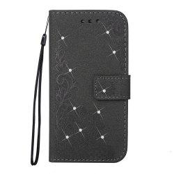 Wkae Embossed Phenix Flower Bling Shining Resin Rhinestone Pattern PU Leather Wallet Case with Lanyard Card Slots for Samsung Galaxy J5 2017 European Edition -