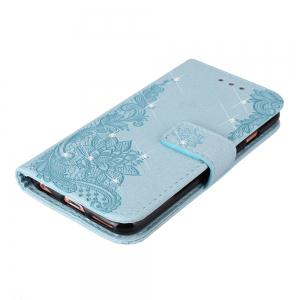 Wkae Embossed Phenix Flower Bling Shining Resin Rhinestone Pattern PU Leather Wallet Case with Lanyard Card Slots for Samsung Galaxy S8 -