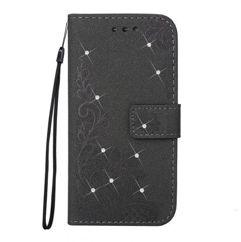 Best Wkae Embossed Phenix Flower Bling Shining Resin Rhinestone Pattern PU Leather Wallet Case with Lanyard Card Slots for Samsung Galaxy S8