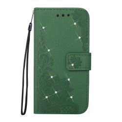 Wkae Embossed Phenix Flower Bling Shining Resin Rhinestone Pattern PU Leather Wallet Case with Lanyard Card Slots for Samsung Galaxy S8 Plus -