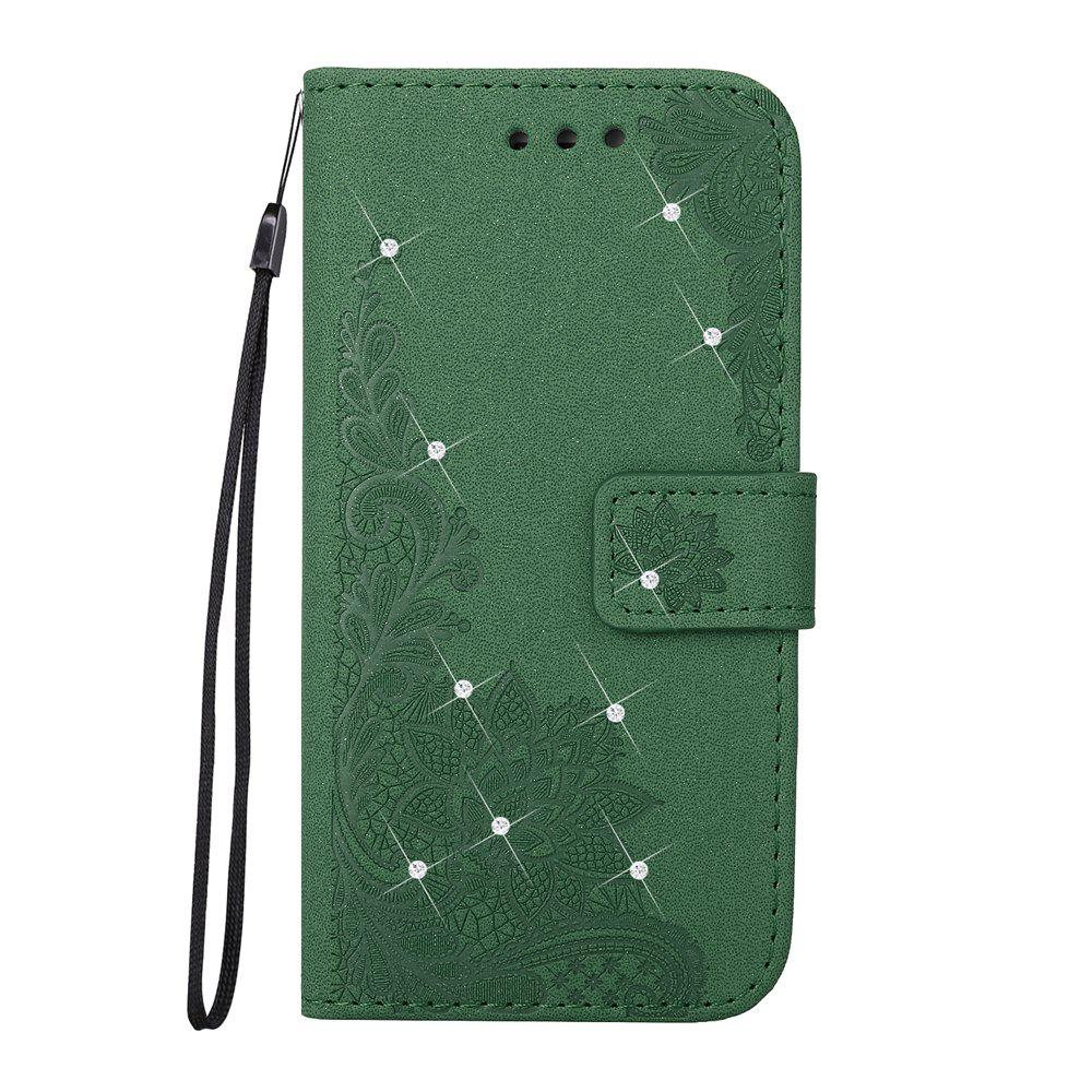 Store Wkae Embossed Phenix Flower Bling Shining Resin Rhinestone Pattern PU Leather Wallet Case with Lanyard Card Slots for Samsung Galaxy S8 Plus