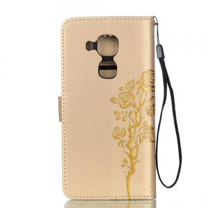 Wkae Double-side Embossing Rose Flower Synthetic Leather Wallet Case Soft Silicone Back Cover with Flip Kickstand and Lanyard for Huawei Nova Plus -