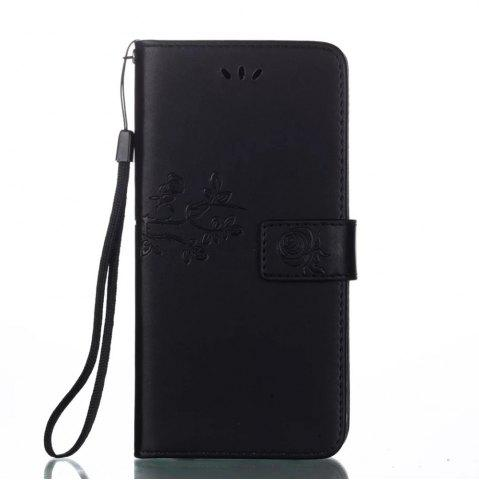 Shops Wkae Double-side Embossing Rose Flower Synthetic Leather Wallet Case Soft Silicone Back Cover with Flip Kickstand and Lanyard for Huawei Nova Plus