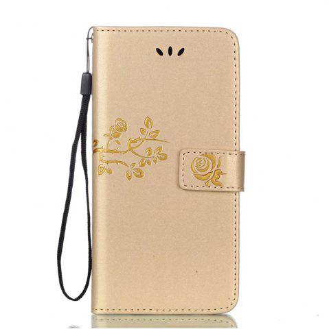 Shop Wkae Double-side Embossing Rose Flower Synthetic Leather Wallet Case Soft Silicone Back Cover with Flip Kickstand and Lanyard for Huawei Nova Plus