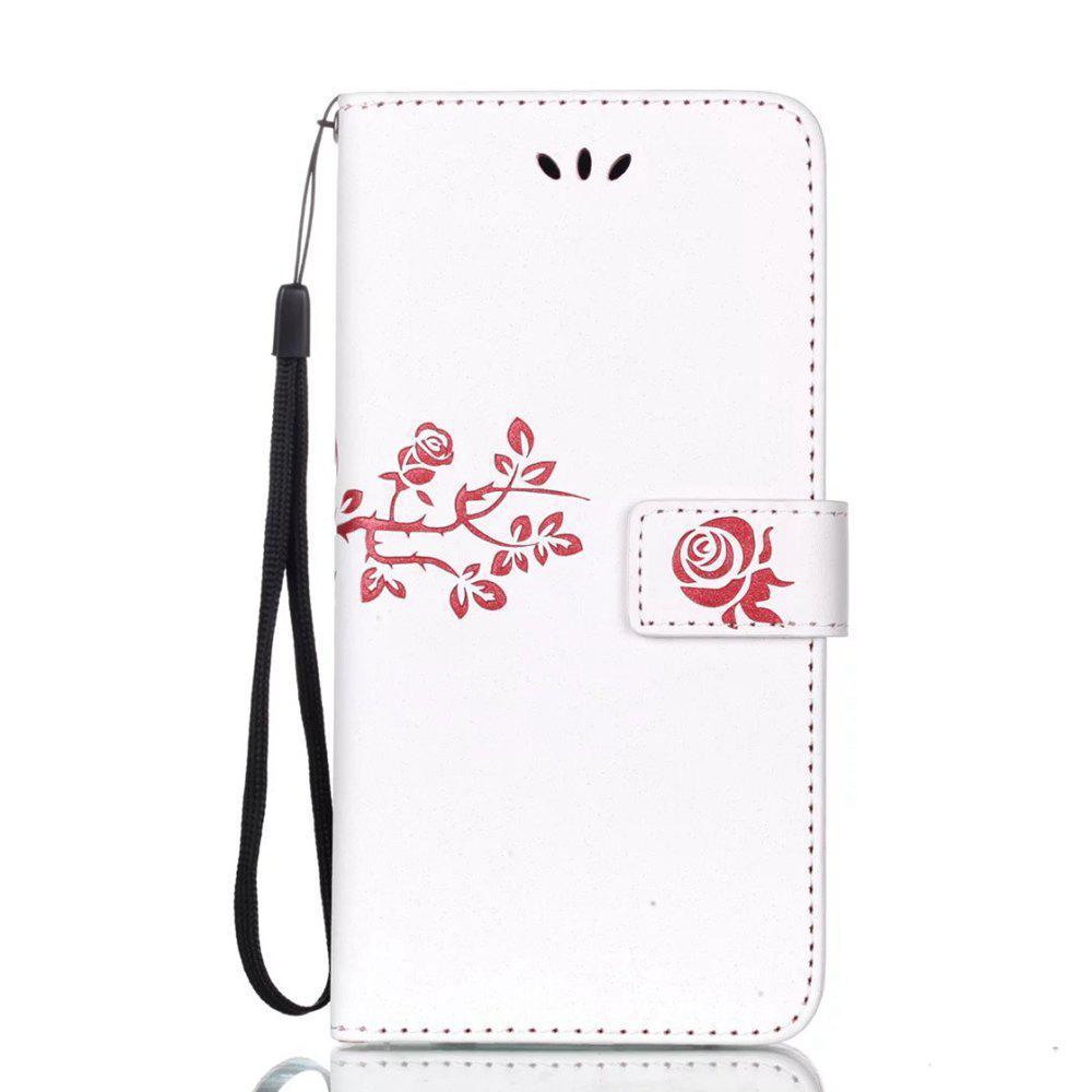 Best Wkae Double-side Embossing Rose Flower Synthetic Leather Wallet Case Soft Silicone Back Cover with Flip Kickstand and Lanyard for Huawei Nova Plus