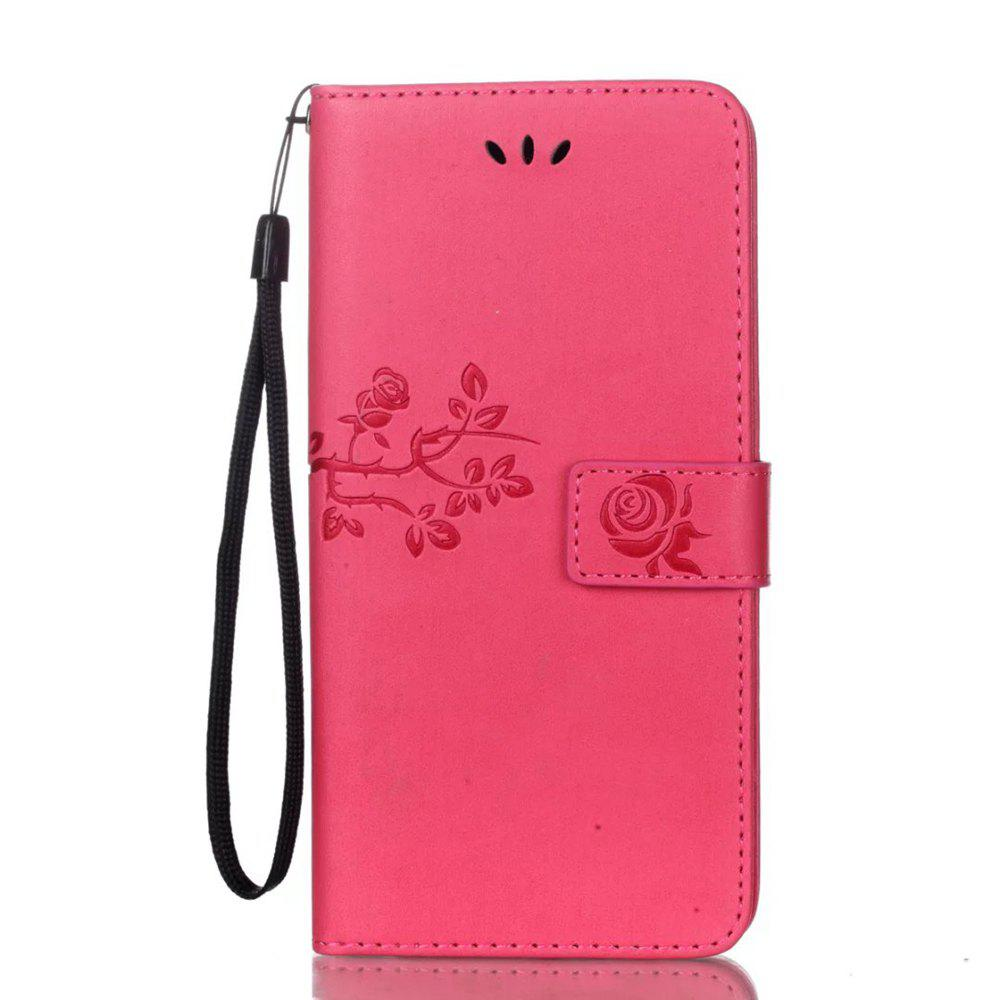 Fashion Wkae Double-side Embossing Rose Flower Synthetic Leather Wallet Case Soft Silicone Back Cover with Flip Kickstand and Lanyard for Huawei Nova Plus
