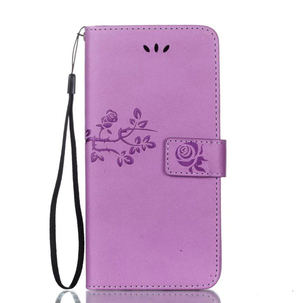 Trendy Wkae Double-side Embossing Rose Flower Synthetic Leather Wallet Case Soft Silicone Back Cover with Flip Kickstand and Lanyard for Huawei Nova Plus