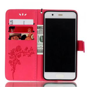 Wkae Double-side Embossing Rose Flower Synthetic Leather Wallet Case Soft Silicone Back Cover with Flip Kickstand and Lanyard for Huawei P10 -
