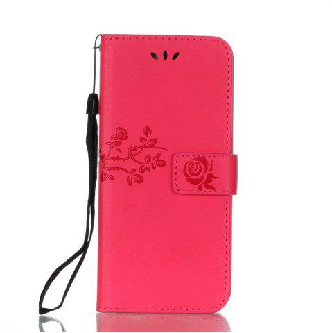 New Wkae Double-side Embossing Rose Flower Synthetic Leather Wallet Case Soft Silicone Back Cover with Flip Kickstand and Lanyard for Huawei P10