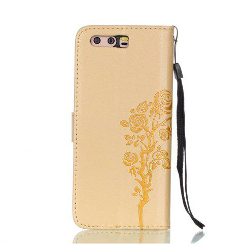 Outfits Wkae Double-side Embossing Rose Flower Synthetic Leather Wallet Case Soft Silicone Back Cover with Flip Kickstand and Lanyard for Huawei P10